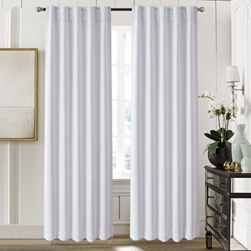 (Aquazolax Thermal Insulated Back Tab/Rod Pocket Blackout Drape Curtains for Living Room, 2 Panles Set, 52