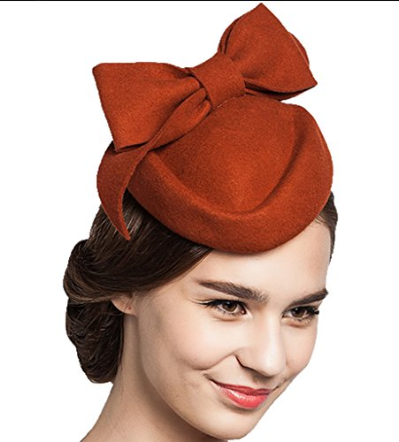 Supergirl Women hat Wool Beret Hat Fashion Bow Homburg Hat Orange