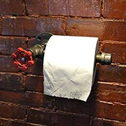 E-Greetshopping Industrial Urban Retro Wall Mount Iron Pipe Toilet Paper Roll Holder