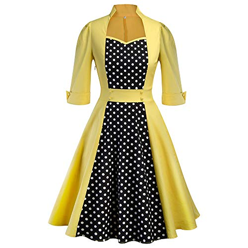 Rakkiss Women's Sleeve Retro Hepburn Wind Dot Stitching Big Swing -