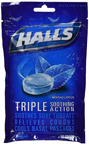 Halls Drops, Menthol-Lyptus, 30-Count Drops (Pack of (Cough Drop Brands)