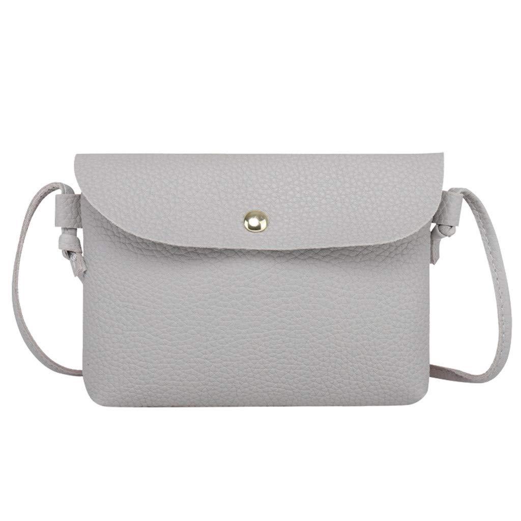 MaxFox Women Leather Crossbody Bag Ladies Designer Hasp Cell Phone Shoulder Bags Messenger Coin Satchel Handbag (Gray) by MaxFox (Image #2)