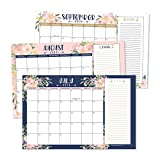 Navy Floral 2019-2020 Large Monthly Desk or Wall Calendar Planner, Big Giant Planning Blotter Pad, 18 Month Academic Desktop, Hanging 2-Year Date Notepad Teacher, Family Home or Business Office 11x17'