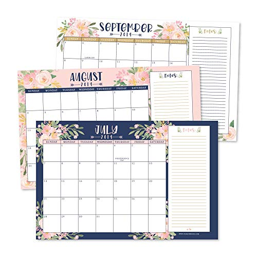 Navy Floral 2019-2020 Large Monthly Desk or Wall Calendar Planner, Big Giant Planning Blotter Pad, 18 Month Academic Desktop, Hanging 2-Year Date Notepad Teacher, Family Home or Business Office - Monthly Wall Calendar