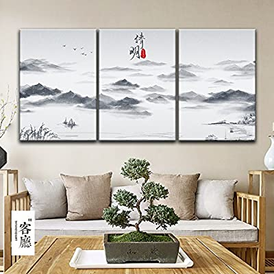 3 Panel Chinese Ink Painting Style Landscape with Mountains and Rivers in Qingming Festival x 3 Panels, Crafted to Perfection, Dazzling Piece