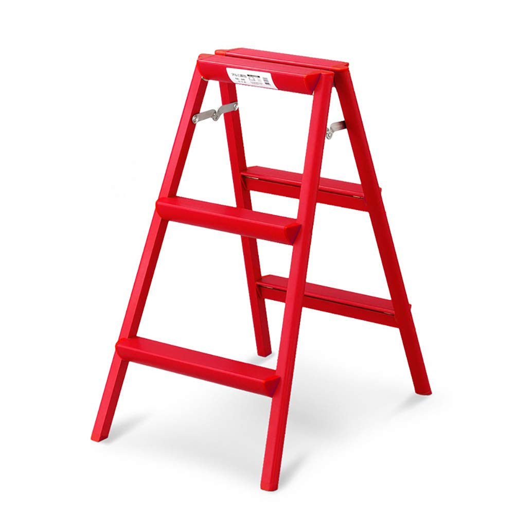 SYF 赤3段梯子厚アルミ合金家庭用折りたたみ梯子携帯用折りたたみ梯子47×66×79CM A+   B07R47NFWN