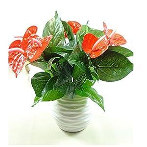 ShineBear 1Pcs Anthurium Green Plants Artificial Flowers Flores Artificiais Plants Floral Decor Fake Flower Bonsai Simulation Potted Hot 27