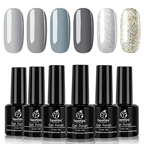 Beetles Elephantastic Elegant Gel Nail Polish Set - Soak Off Nail Gel Polish Nude Gray Glitter Series 6 Colors Gel Polish Kit Classic Nail Art Designs Gel Manicure Gift Set
