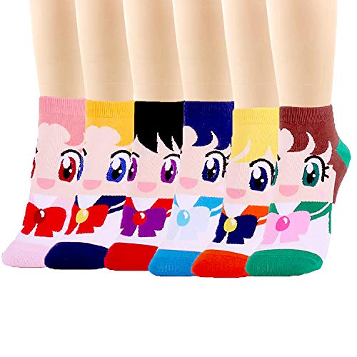 Pack of 3 to 6 Japan Animation Series Women's Socks Made in Korea by JJSocks (Sailor Moon)