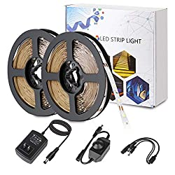 Binzet Led Strip Light 32 8ft Daylight White Dimmable Flexible Smd2835 600leds 6500k Self Adhesive Led Light Strip Full Set With Dc12v 3a Ul Listed Power Supply And Dimmer