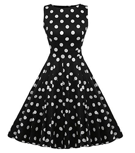 Jaycargogo Femmes Style Des Années 1950 Hepburn Audrey Cru Robe De Soirée Sans Manches 27