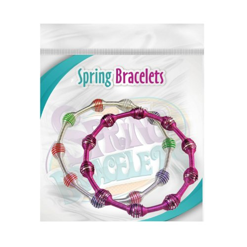 Metal Bracelets - Spring Beaded (Multicolor Light and Hot pink)