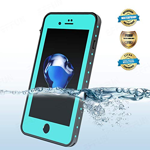 (EFFUN iPhone 8 Plus/iPhone 7 Plus Waterproof Case, Dottie Style IP68 Certified Underwater Cover Shock/Dirt/Snow Proof Case with PH Test Paper, Stylus Pen and Floating Strap Aqua Blue [New Version])