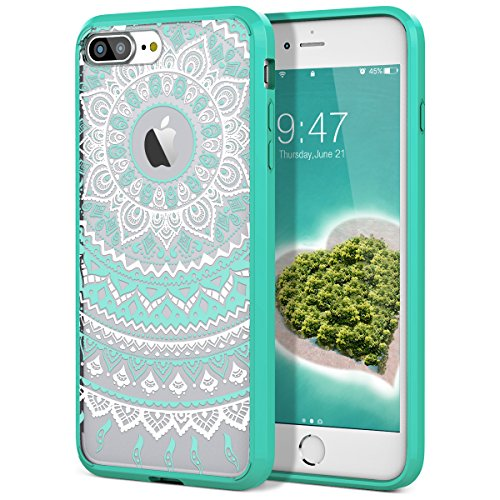 Gold Mint Acrylics (iPhone 8 Plus Case, iPhone 7 Plus Case, SmartLegend Retro Totem Mandala Henna Floral Pattern Clear PC Hard Back Cover with TPU Bumper Hybrid Transparent Protective Case for iPhone 7 Plus 8 Plus - Mint)