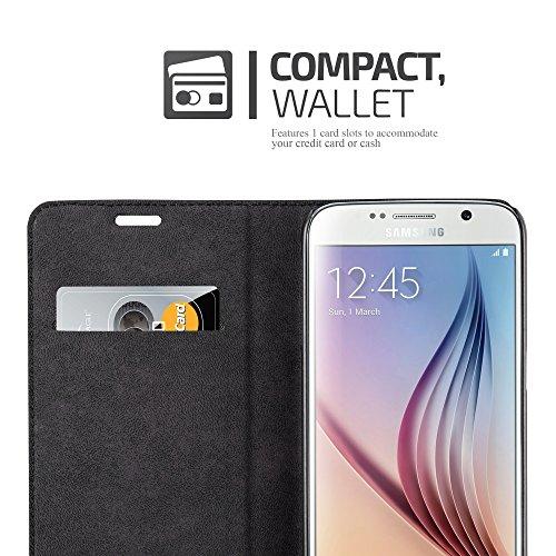 Cadorabo - Funda Book Style Cuero Sintético en Diseño Libro Samsung Galaxy S6 (G920F - NO para EDGE) - Etui Case Cover Carcasa Caja Protección con Imán Invisible en NEGRO-ANTRACITA TURQUESA-PETROL
