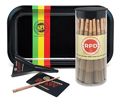 Bundle - 3 Items - 50 Natural RAW King Size Cones, RAW Loader with Rolling Paper Depot Rolling Tray (Rasta Racer) ()