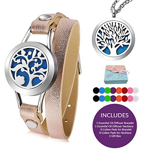 KoiCity Aromatherapy Essential Oil Diffuser Necklace and Bracelet Set - Includes 16 Washable Pads - Tree of -