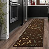 Ottohome Collection Choclate Contemporary Leaves Design Modern Runner Rug With Non-Skid (Non-Slip) Rubber Backing (20'X59') Kitchen and Bathroom Runner Rug