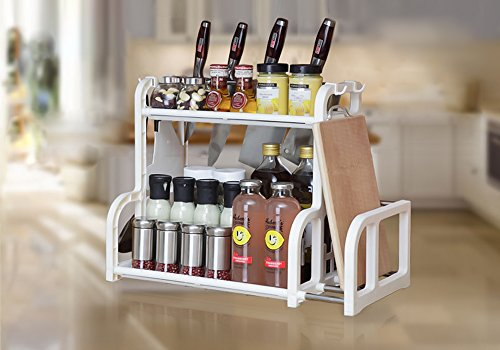 2-Tier Kitchen Organizer with Cutting Board Rack & Hanging Hooks