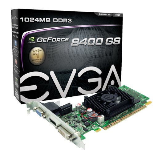 EVGA 1GB GeForce 8400 GS DirectX 10 64-Bit DDR3 PCI Express 2.0 x16 HDCP Ready Video Card Model 01G-P3-1302-LR Ati Agp Video Cards