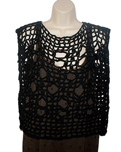 Layered Shrug Top Shirt - Black Cotton Crochet Shirt, Plus Size Womans Top, Dolman Top, Layered Look Tee, Grunge Blouse, Black Mesh Tee, Plus Tunic