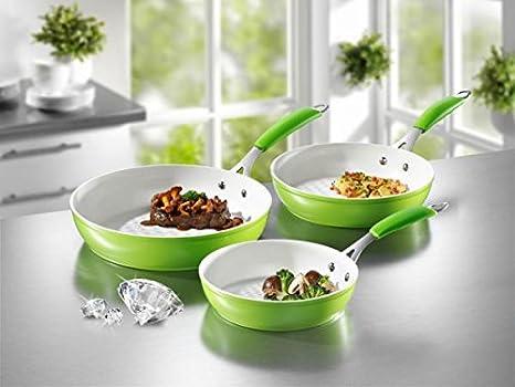 Teleshop juego de sartenes de cerámica para inducción de suerte 3 teilig, color verde: Amazon.es: Hogar