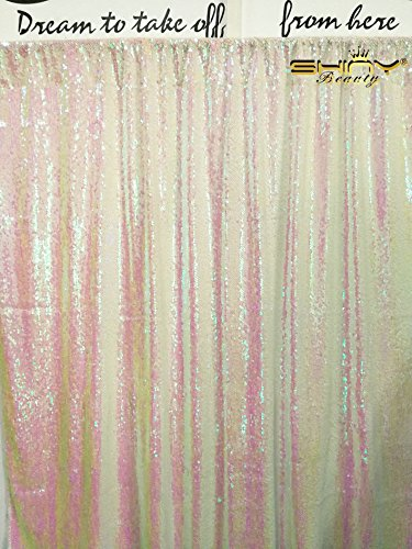 ShinyBeauty Mermaid-Sequin Curtain Backdrop-Iridescent White-10FTx8FT,Sparkyly Sequin Fabric Curtain Backdrop,Perfect for Party/Wedding/Event/Prom/Birthday by ShinyBeauty