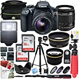 Canon T6 EOS Rebel DSLR Camera EF-S 18-55mm f/3.5-5.6 is II Lens Two (2) 16GB SDHC Memory Cards Plus Triple Battery Tripod Cleaning Kit Accessory Bundle