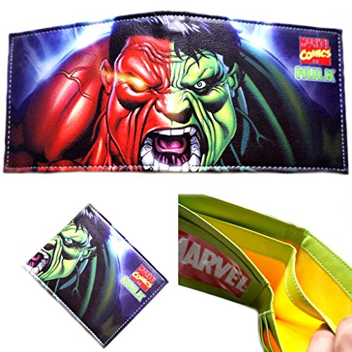 Marvel Comics (Avengers) Green and Red Hulk Roaring Leather Bi-Fold Men's Boys Wallet with Gift Box ()