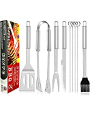 BBQ Accessories - BBQ Tool Utensils - Grilling Accessories - Stainless Grill Tools for Outdoor Picnic, Party. Grill Set Includes Spatula, Tongs, Basting Brush, 4pcs Grill Needles, Fork
