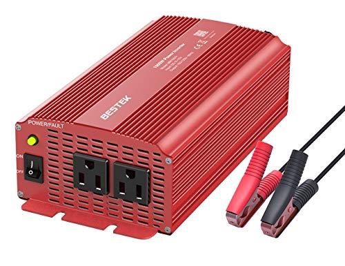 BESTEK 1000 Watt Car Power Inverter Dual AC Outlets 12V DC to 110V AC Modified Sine Wave Inverter 12V DC to AC Power, Car Power Charger Inverter with Battery Clips