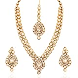 I Jewels Jewellery Set with Maang Tikka for Women IJ244W (White)