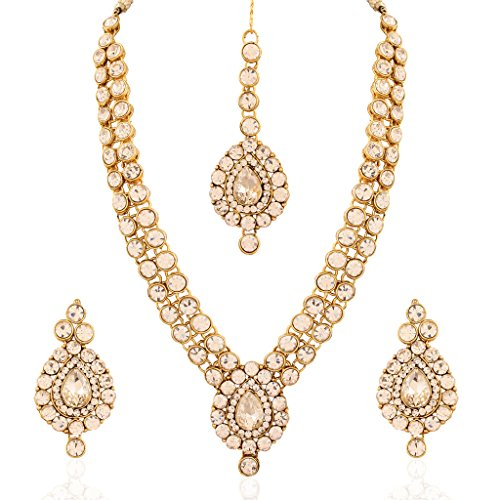 I Jewels Traditional Gold Plated Jewellery Set with Maang Tikka for Women IJ244W (White)