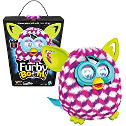 Hasbro Year 2013 Furby Boom Series 5 Inch Tall Electronic App Plush Toy Figure - Pink, White & Purple Cubes Pattern Furby