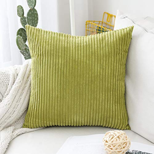 HOME BRILLIANT Euro Sham Striped Corduroy Textured Velvet European Throw Pillowcase for Couch, 24 x 24 inch (60cm), Grass Green