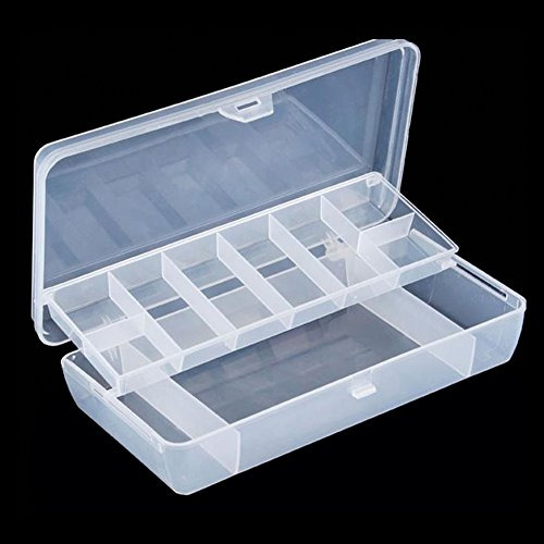 Yosoo Visible Plastic Clear Fishing Lure Bait Hooks FishingTackle Accessory Storage Box Case Container 2 Layer 15 Compartments