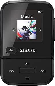SanDisk 32GB Clip Sport Go MP3 Player, Black - LED Screen and FM Radio - SDMX30-032G-G46K