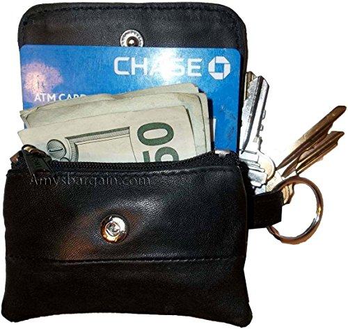 Mini Leather Key Tag - Women/men's mini leather Change Purse key ring Coin bag Mini Wallet, Black Case