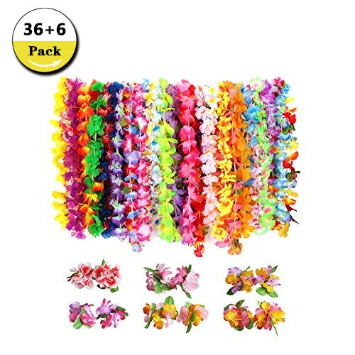 42 Pack Luau Tropical Hawaiian Headband Floral Leis Headband and Wristband for Costume Party Decoration Supplies, 10 Colors