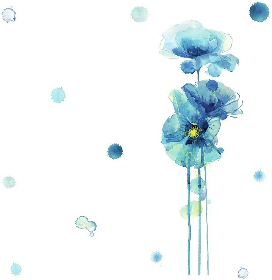 RoomMates Blue Poppies Peel And Stick Giant Wall Decals