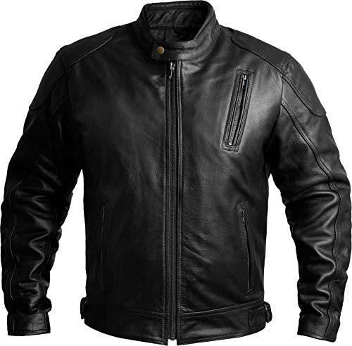 Mens Leather Motorcycle Jackets Black Moto Riding Motorbike Racing Cafe Racer Biker Jacket CE Armored (XL)