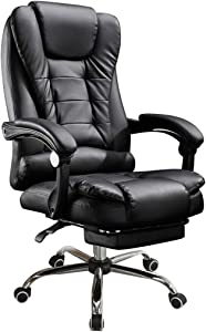 Ergonomic Reclining Office Chair with Footrest, High Back Leather Napping Office Computer Desk Task Chair, Executive Swivel Lift Chair Casual Massage Gaming Chair Recliner, Lumbar Support (Black)