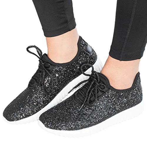 - Sharemen Women Outdoor Sequined Cloth Casual Sport Shoes Runing Breathable Shoes Sneakers(Black,US: 7)
