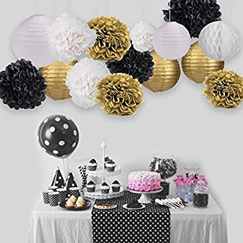 skoye black gold party decoration party decor tissue paper pom pom tassel garland polka dot tissue poms paper garland for wedding baby shower decoration