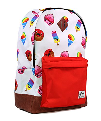 School Backpack for Boys Girls | Durable Canvas Material Bookbag for Elementary Junior Middle & High School - iHasCupquake (White/Red)
