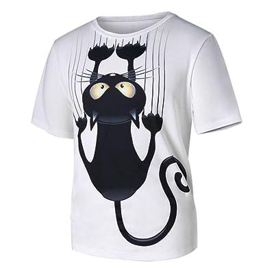 Oksale® Men Women Couple Models Cat Pattern Print Short-Sleeved T-Shirt Lovers' Tops Blouse