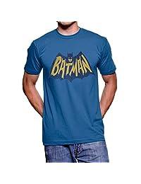 Junk Food Batman Vintage Logo Light Navy Adult T-shirt (Adult Medium)
