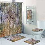 Bathroom 5 Piece Set Shower Curtain 3D Print Customized,Rustic Home Decor,Annual Rings of Wood Growth Dirty Inner Tree Body Branch Whorls Width Design,Brown,Bath Mat,Bathroom Carpet Rug,Non-Slip,Bath