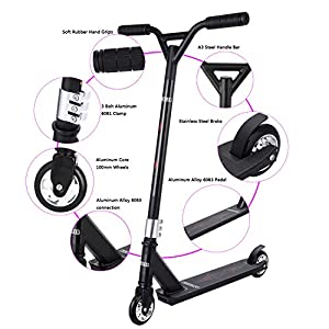 Lululy Pro NEW Kick Stunt Scooter For teenager's Christmas Gift 2 Wheel Scooter 360-degree Lean To Steer Ride On PU ABEC-5 Bearing Wheels for Person over 7 Year Old