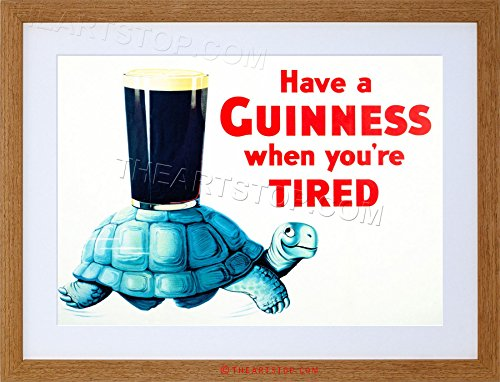 AD DRINK ALCOHOL IRISH STOUT ALE TORTOISE BLUE SHELL GLASS FRAMED PRINT - Pictures Tortoise